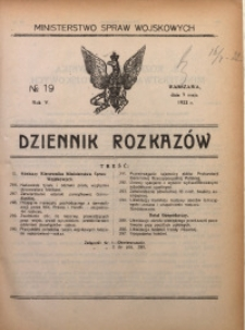Dziennik Rozkazów, 1922, R. 5, nr 19