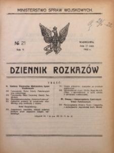 Dziennik Rozkazów, 1922, R. 5, nr 21