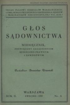 Głos Sądownictwa, 1930, R. 2, nr 4