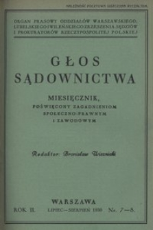 Głos Sądownictwa, 1930, R. 2, nr 7/8