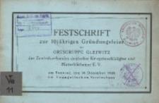 Festschrift zur 10jährigen Gründungsfeier der Ortsgruppe Gleiwitz des Zentralverbandes deutscher Kreigsbeschädigter und Hinterbliebener E. V. Am Sonntag, den 30. Dezember 1928 im Evangelischen Vereinshaus