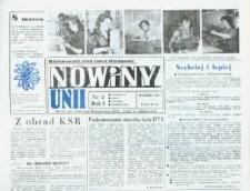 """Nowiny Unii : miesięcznik Samorządu Robotniczego ZPDz """"Unia"""" w Głubczycach. R. 1, nr 2."""