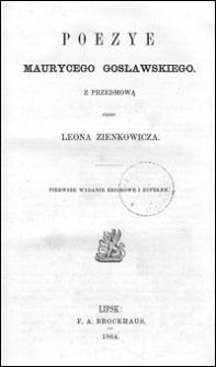 Poezye Maurycego Gosławskiego