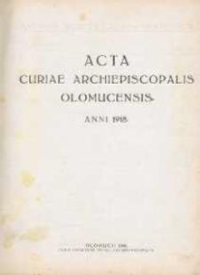Acta Curiae Archiepiscopalis Olomucensis 1918, nr 1.