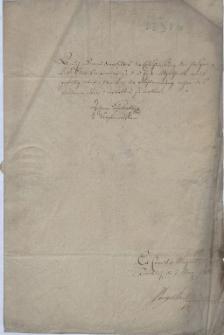 Burmistrz Jan Schalatta w imieniu magistratu miasta Cieszyna przekazuje 7.03.1801 r. deputowanemu miejskiemu Leopoldowi Janowi Szersznikowi decyzję Komisji Etatowej w Cieszynie