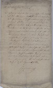 Pismo cieszyńskiego Starszego Krajowego Jana hrabiego von Larysz z 6.04.1782 r. do magistratu Skoczowa w sprawie prośby tegoż o zatwierdzenie przywilejów miejskich