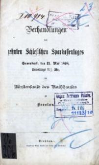 Verhandlungen des 10. Schlesischen Sparkassentages. Sonnabend, den 21. Mai 1898, [...] zu Breslau