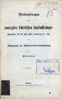 Verhandlungen des 20. Schlesischen Sparkassentages. Sonnabend, den 23. Mai 1908, [...] zu Breslau