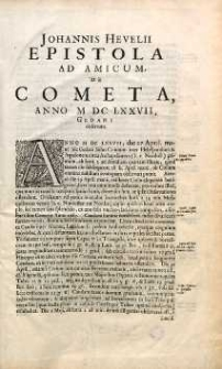 Johannis Hevelii Epistola ad amicum de cometa anno MDCLXXVII Gedani observato [...]