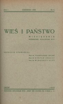 Wieś i Państwo, 1938, R. 1, nr 6
