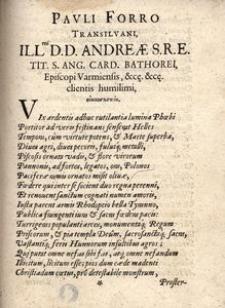 Pavli Forro Transilvani [...] Andreae [...] card. Bathorei, episcopi Varmiensis [...] oionoskopia