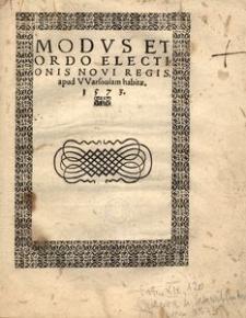 Modus et ordo electionis novi regis, apud Warsoviam habitae, 1573