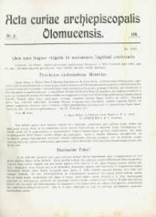 Acta Curiae Archiepiscopalis Olomucensis 1911, nr 3.