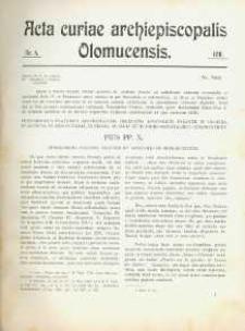 Acta Curiae Archiepiscopalis Olomucensis 1911, nr 4.