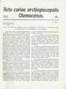 Acta Curiae Archiepiscopalis Olomucensis 1911, nr 6.
