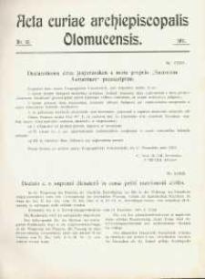 Acta Curiae Archiepiscopalis Olomucensis 1911, nr 10.