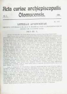 Acta Curiae Archiepiscopalis Olomucensis 1913, nr 4.
