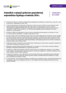 Komunikat o sytuacji społeczno-gospodarczej województwa śląskiego, 2018, nr 4