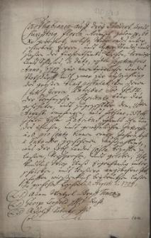 Odpis weksla [Charta bianca] na kwotę 350 zł reńskich wystawionego 20.08.1707 r. przez reprezentantów cieszyńskiej szlachty, płatny na rzecz cieszyńskiej rezydencji jezuitów w zamian za pożyczone pieniądze