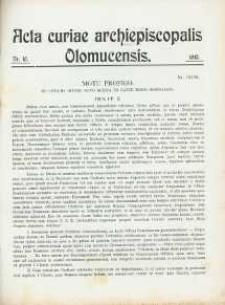 Acta Curiae Archiepiscopalis Olomucensis 1913, nr 10.