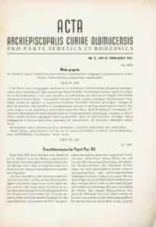 Acta Archiepiscopalis Curiae Olomucensis pro parte Sudetica et Borussica 1942, nr 3.