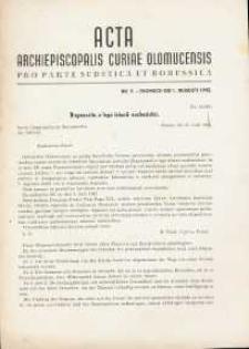 Acta Archiepiscopalis Curiae Olomucensis pro parte Sudetica et Borussica 1942, nr 9.