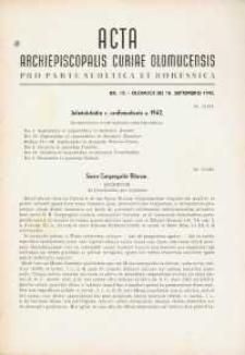 Acta Archiepiscopalis Curiae Olomucensis pro parte Sudetica et Borussica 1942, nr 10.
