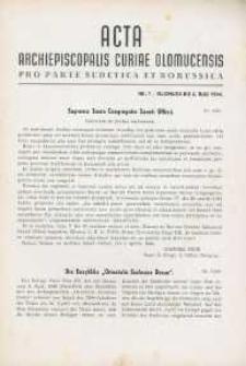 Acta Archiepiscopalis Curiae Olomucensis pro parte Sudetica et Borussica 1944, nr 7.