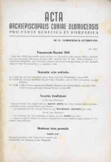 Acta Archiepiscopalis Curiae Olomucensis pro parte Sudetica et Borussica 1944, nr 10.