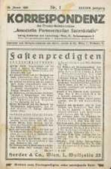 "Korrespondenz des Priester-Gebetsvereines ""Associatio Perseverantiae Sacerdotalis"". Jg. 47, nr 1."