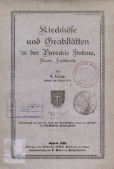 Kirchhöfe und Grabstätten in der Parochie Sodow, Kreis Lublinitz