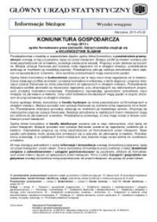 Koniunktura gospodarcza w maju 2013 r. opinie formułowane przez jednostki, których siedziba znajduje się w województwkie śląskim