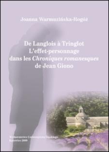 De Langlois à Tringlot : l'effet-personnage dans les Chroniques romanesques de Jean Giono