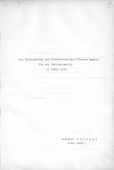 Zur Entwicklung des Schulwesens bei Kloster Kamenz bis zur Säkularisation im Jahre 1810