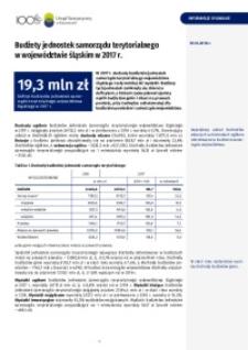 Budżety jednostek samorządu terytorialnego w województwie śląskim w 2017 r.