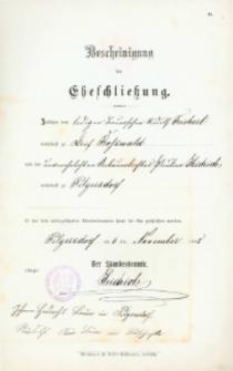 Akt zawarcia małżeństwa z 6 listopada 1898 r.
