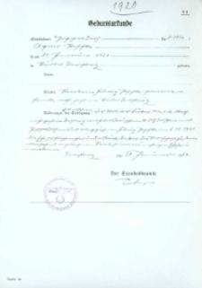 Metryka urodzenia wystawiona w 1942 r.