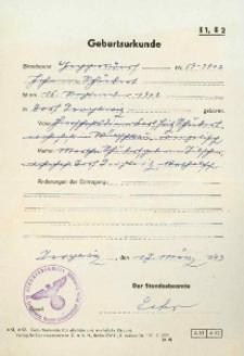Metryka urodzenia wystawiona w 1943 r.