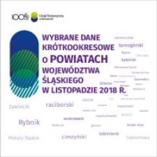 Wybrane dane krótkookresowe o powiatach województwa śląskiego w listopadzie 2018 r.