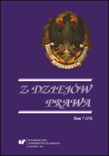 Z Dziejów Prawa. Tom 7 (15)