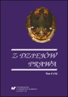 Z Dziejów Prawa. Tom 8 (16)
