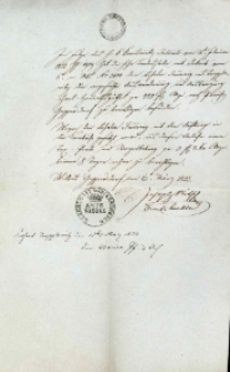Korespondencja różnych osób z 12 marca 1833 r.