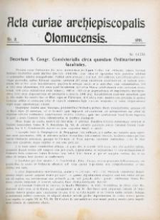 Acta Curiae Archiepiscopalis Olomucensis 1918, nr 9.
