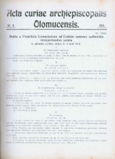 Acta Curiae Archiepiscopalis Olomucensis 1918, nr 11.