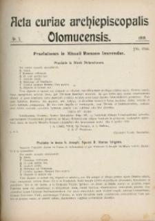Acta Curiae Archiepiscopalis Olomucensis 1919, nr 7.