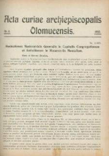 Acta Curiae Archiepiscopalis Olomucensis 1920, nr 9.