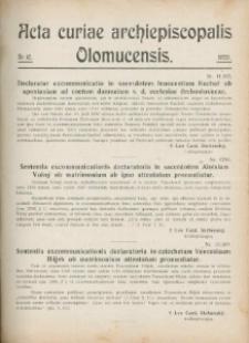 Acta Curiae Archiepiscopalis Olomucensis 1920, nr 10.