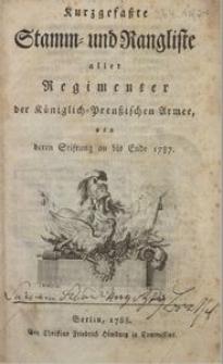 Kurzgefaßte Stamm- und Rangliste ... von deren Stiftung an bis Ende 1787