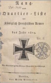Rang- und Quartier-Liste der Königlich Preußischen Armee für das Jahr 1819