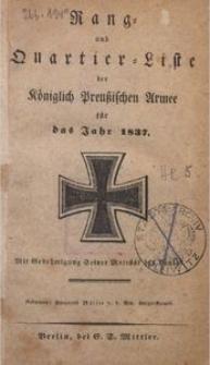 Rang- und Quartier-Liste der Königlich Preußischen Armee für das Jahr 1837